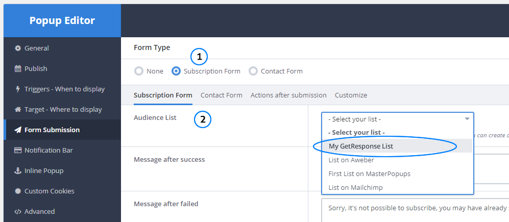 how to integrate master popups with getresponse \u2013 master popupsselect the audience list created previously
